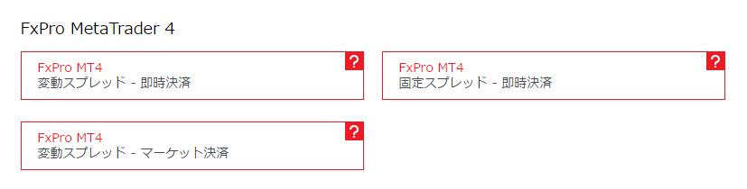 FxPro MT4口座種類