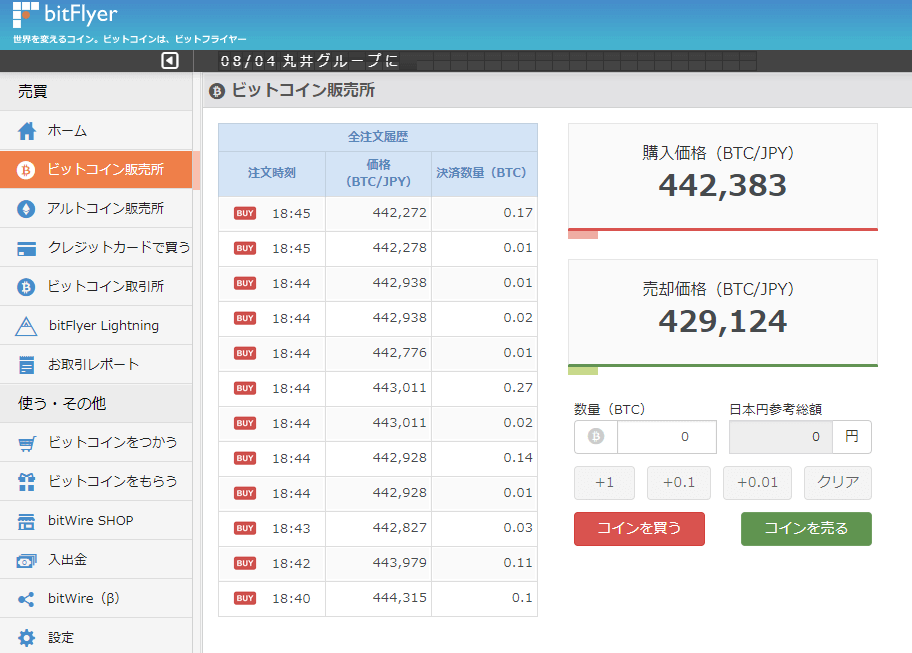 bitFlyerビットコインCFD01