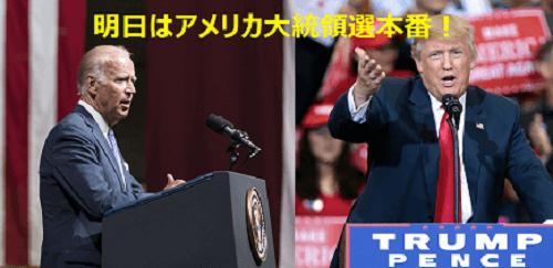 明日はアメリカ大統領選本番!