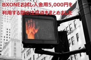 BXONEお試し入金用5,000円について注意すべきポイント