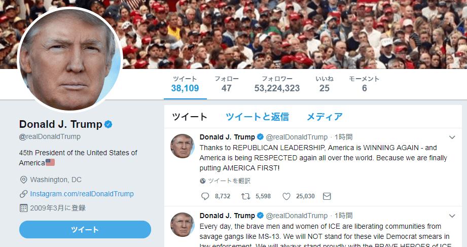 トランプ大統領Twitter