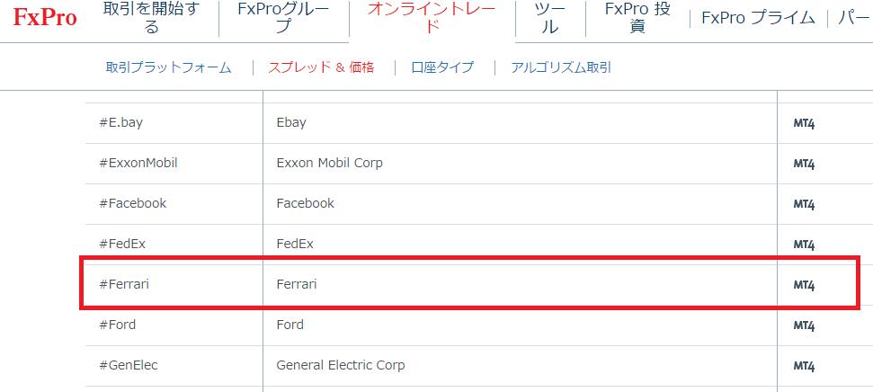 FxProのwebsite