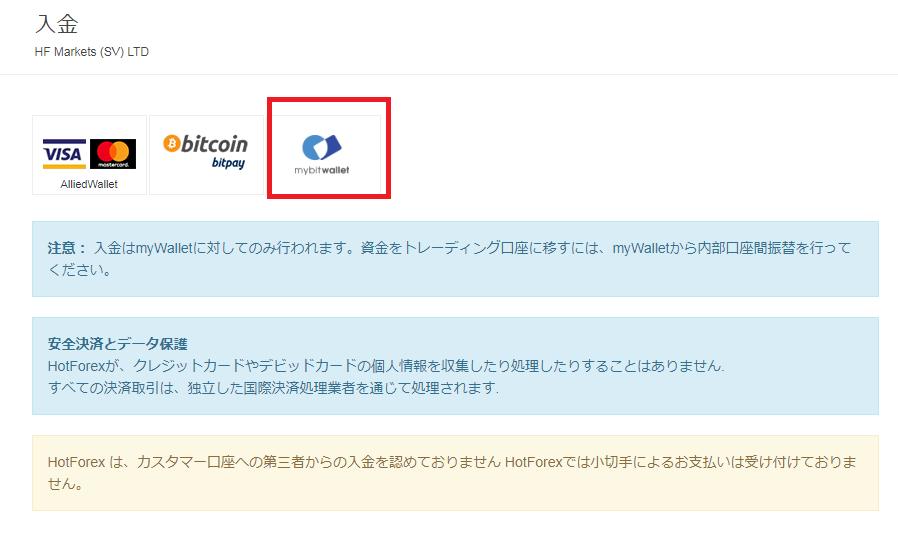 HotForex mybitwallet入金
