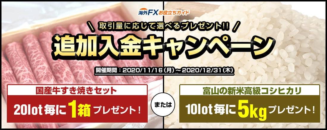 追加入金国産高級お米・お肉プレゼントキャンペーン