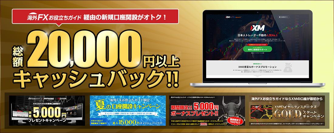 XM 新規口座開設キャンペーン(総額20,000円以上)